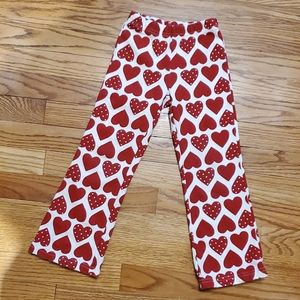 Red white heart stretch pants